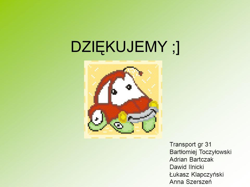 DZIĘKUJEMY ;] Transport gr 31 Bartłomiej Toczyłowski Adrian Bartczak